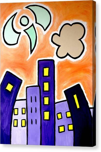 Tower Blocks Orange Canvas Print