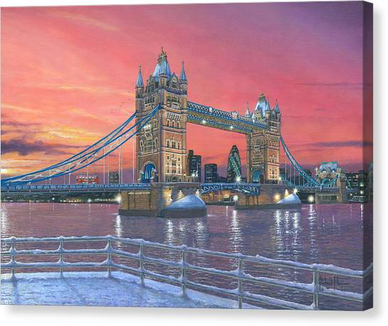 Tower Of London Canvas Print - Tower Bridge After The Snow by Richard Harpum