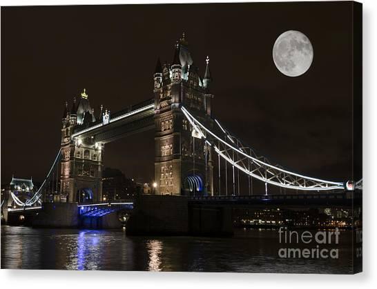 Stamford Bridge Canvas Print - Tower Bridge Moonlight by Steev Stamford