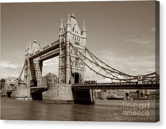 Kate Middleton Canvas Print - Tower Bridge - Sepia by Heidi Hermes