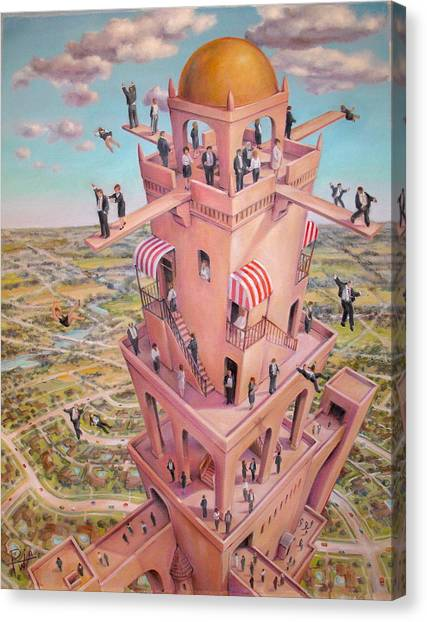 Tower Of Babbit Canvas Print by Henry Potwin