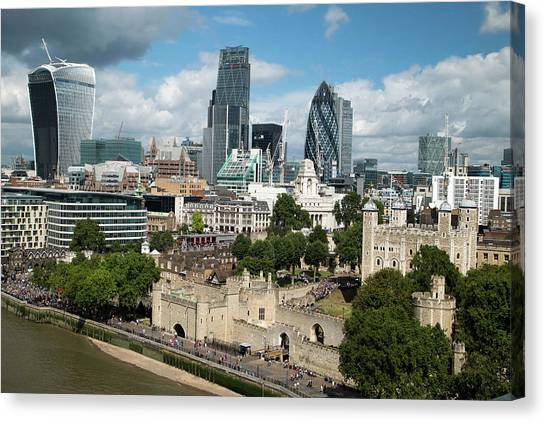Tower Of London Canvas Print - Tower Of London And City Skyscrapers by Mark Thomas/science Photo Library