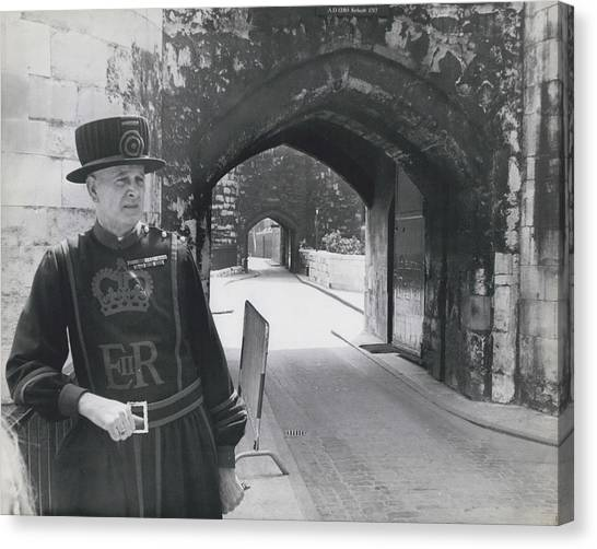 Tower Of London Closed By Beefeater Strike Canvas Print by Retro Images Archive