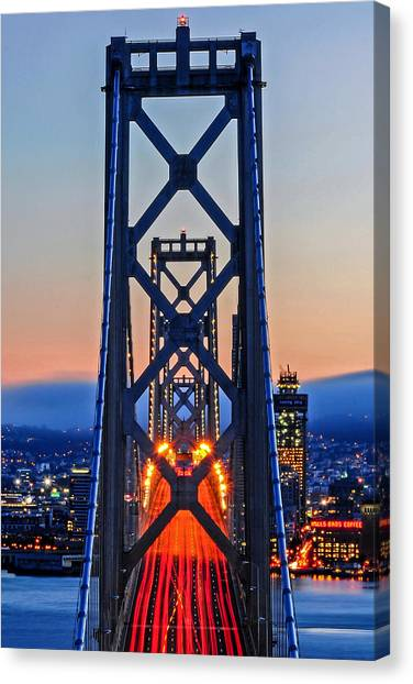 Towers Of The Bay Bridge Perfectly Aligned Canvas Print