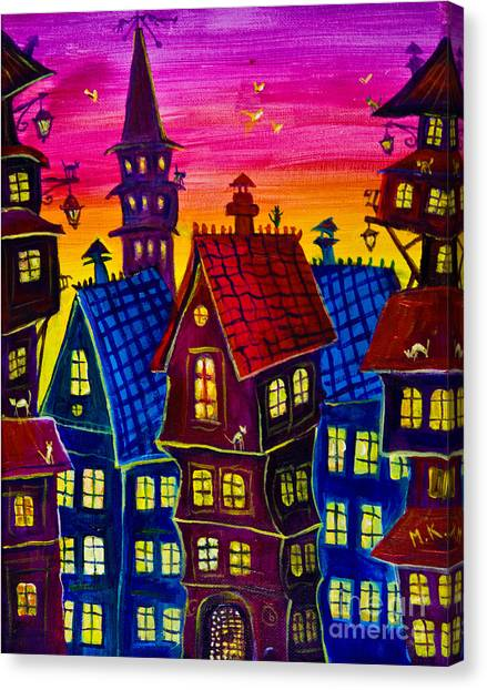 Town At Twilight Canvas Print
