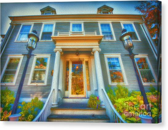 Town House Nantucket And Two Lamps 001 Canvas Print