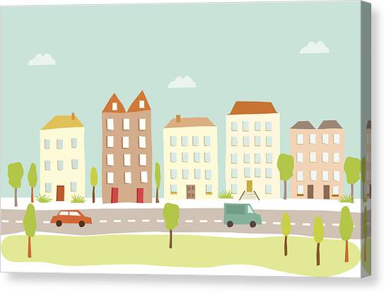 Town Houses Canvas Print by Amathers
