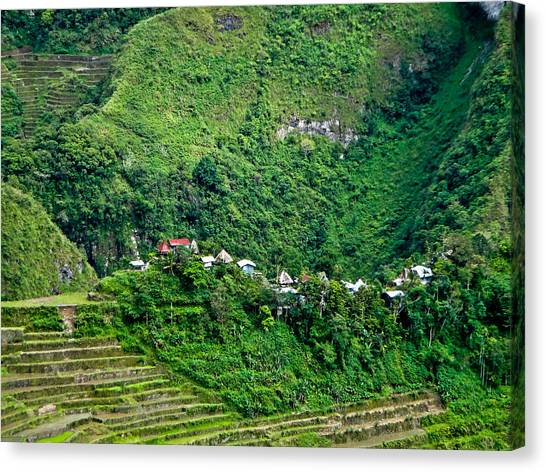 Town In Banaue Rice Terraces Canvas Print
