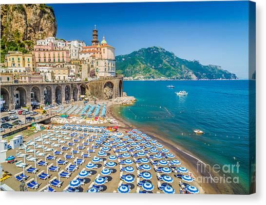 Beach Umbrellas Canvas Print - Town Of Atrani by JR Photography