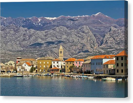 Town Of Vinjerac Waterfrot View Canvas Print