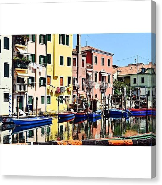 Italian Canvas Print - Town On The Water by Walter Bisoffi