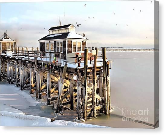 Town Pier Frozen Canvas Print