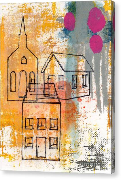 Town Canvas Print - Town Square by Linda Woods