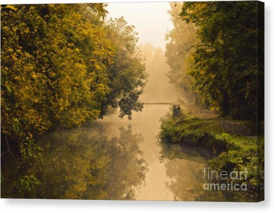 Towpath On The Champlain Canal Canvas Print by Julie Palyswiat