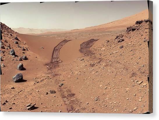 Sandy Desert Canvas Print - Tracks Of The Curiosity Rover On Mars by Nasa/jpl-caltech/msss