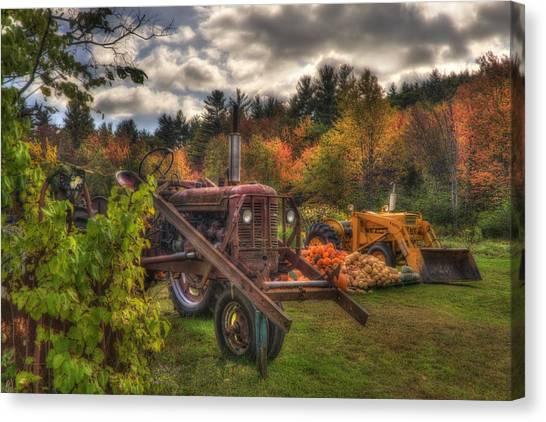 Tractors And Pumpkins Canvas Print by Joann Vitali