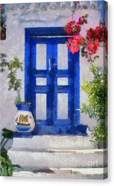 Traditional Door In Hydra Island Canvas Print