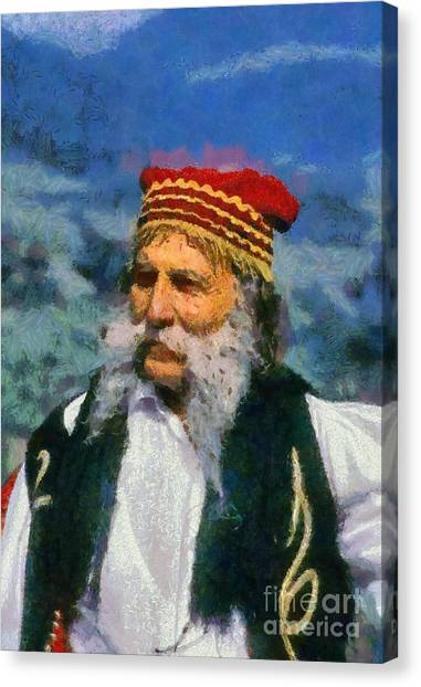 Man Dressed In Traditional Clothes In Delphi Canvas Print