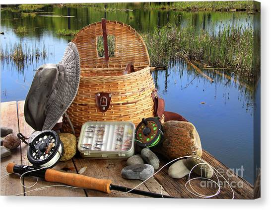 Traditional Fly-fishing Rod With Equipment  Canvas Print