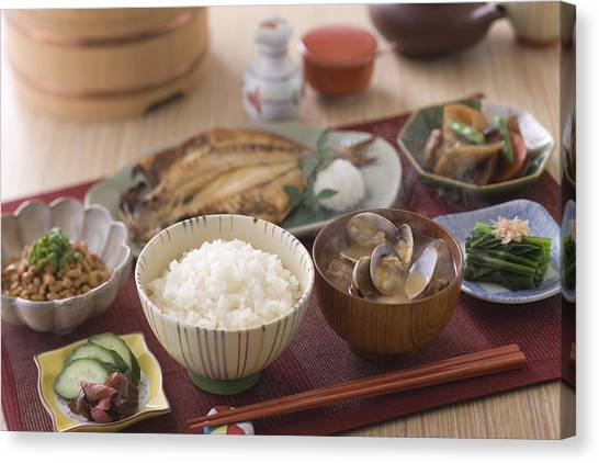 Traditional Japanese Breakfast Canvas Print by Mixa