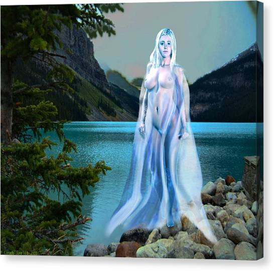 Traditional Modern Female Nude Lady Of The Lake Canvas Print