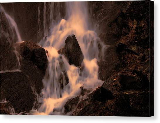 Traditional Waterfall At Sunset Canvas Print