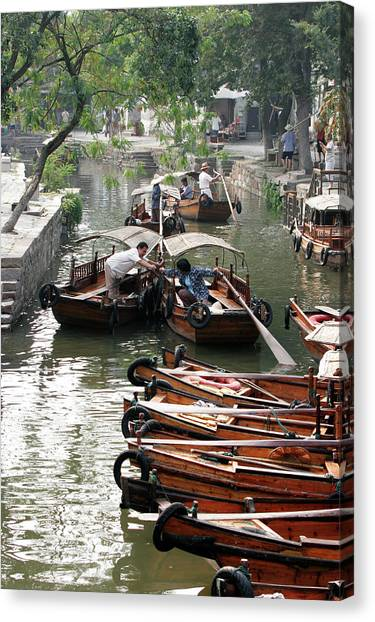 China Town Canvas Print - Traditional Wooden Boats In Ancient by Bruce Yuanyue Bi