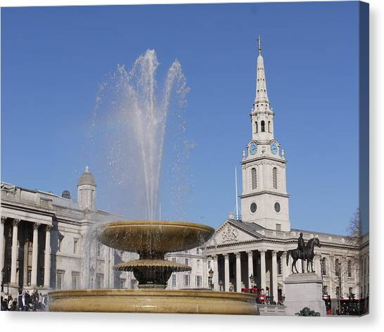 Trafalgar Square Fountain. Canvas Print