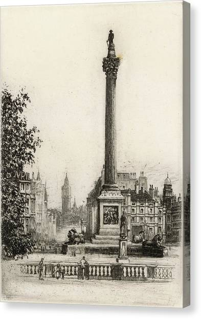 Trafalgar Square, With Big Ben Canvas Print by Mary Evans Picture Library