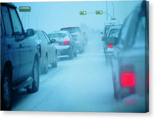 Traffic Jam In Snowy Conditions Canvas Print by Digital Vision.