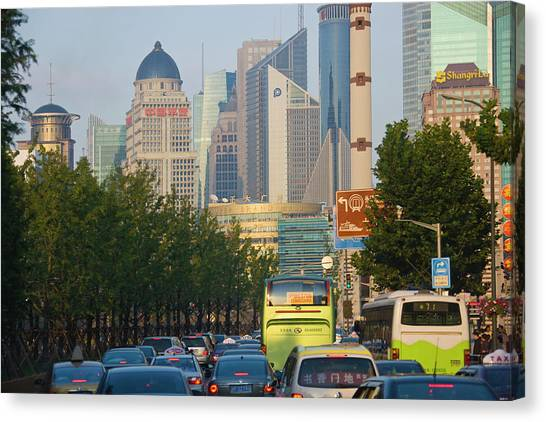 Shanghai Skyline Canvas Print - Traffic Jam On The Freeway During Rush by Keren Su