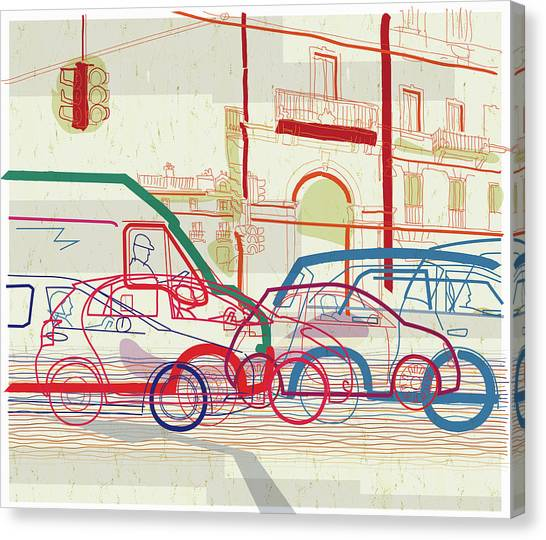 Traffic Jam On Urban Street Canvas Print