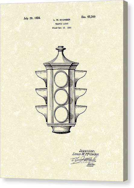 Traffic Light 1924 Patent Art Canvas Print by Prior Art Design