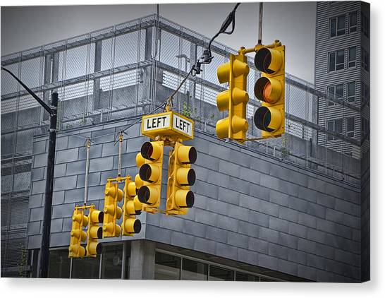 Turn Signals Canvas Print - Traffic Lights And Left Turn Signal by Randall Nyhof