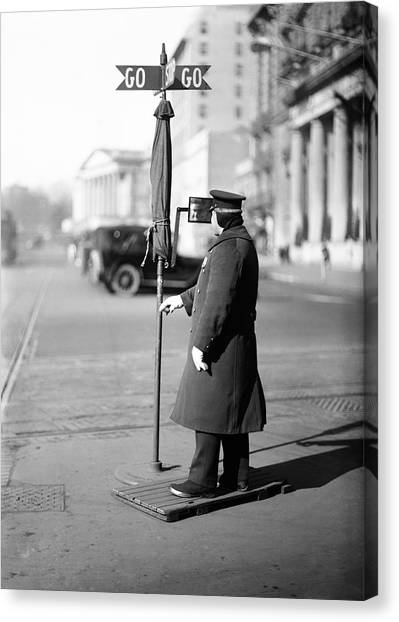 Police Officers Canvas Print - Traffic Officer by Library Of Congress