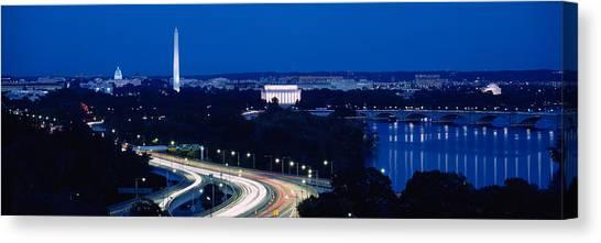Washington Monument Canvas Print - Traffic On The Road, Washington by Panoramic Images