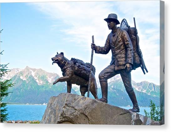 Trail Blazers Sculpture For 2012 Iditarod Beginning At Mile 0 In Seward-ak Canvas Print