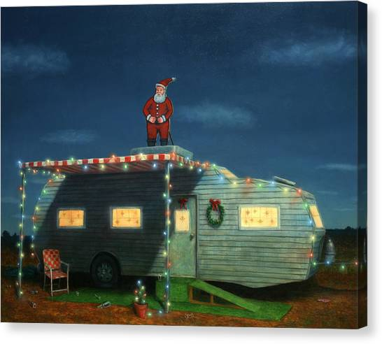 Humor Canvas Print - Trailer House Christmas by James W Johnson