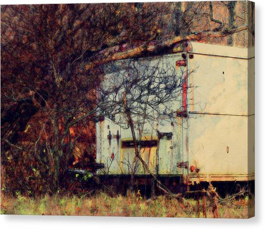 Trailer In The Woods Canvas Print