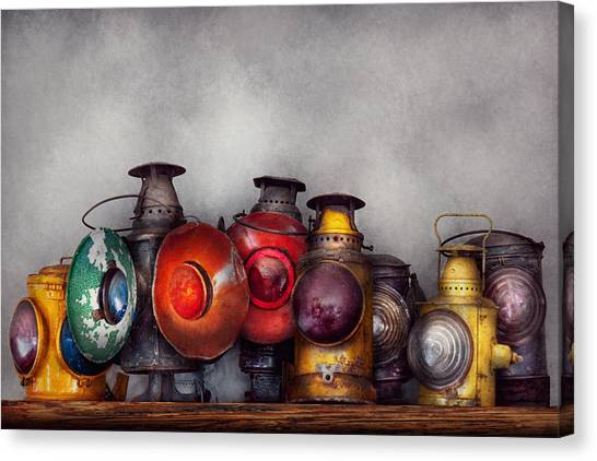 Train Conductor Canvas Print - Train - A Collection Of Rail Road Lanterns  by Mike Savad