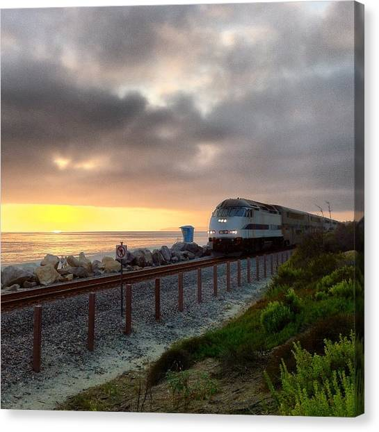 Train And Sunset In San Clemente Canvas Print