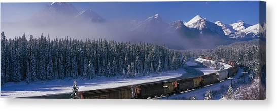 Freight Trains Canvas Print - Train Banff National Park Alberta Canada by Panoramic Images