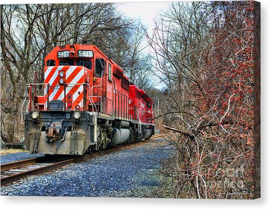 Train Conductor Canvas Print - Train - Canadian Pacific Engine 5937 by Paul Ward