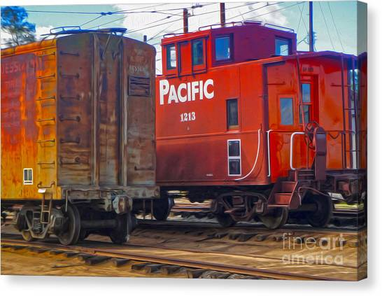 Train Car And Caboose Canvas Print
