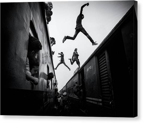 Jump Canvas Print - Train Jumpers by Marcel Rebro