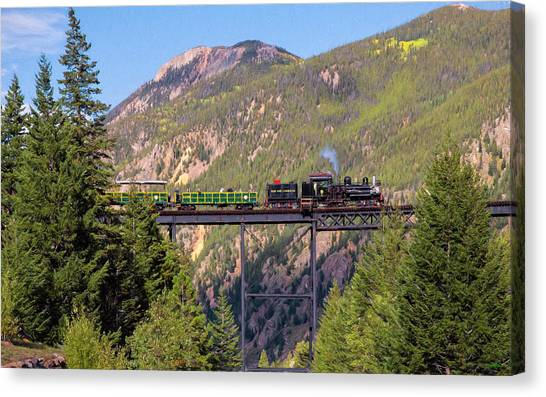 Train Over The Trestle Canvas Print