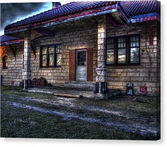 Old Train Canvas Print - Train Stop by Thomas Young