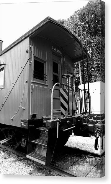 Train Conductor Canvas Print - Train - The Caboose - Black And White by Paul Ward