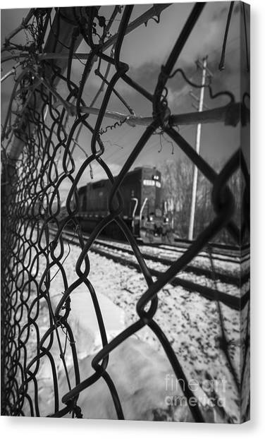 Chain Link Fence Canvas Print - Train Through The Chain Link Fence by Edward Fielding