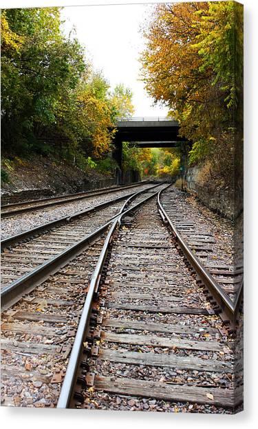 Train Tracks And Bridge In Autumn Canvas Print